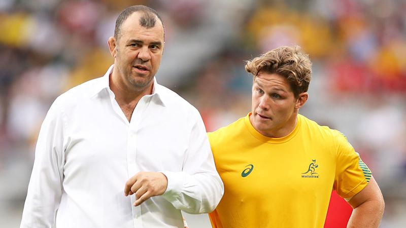 Pictured here, former Wallabies coach Michael Cheika with captain Michael Hooper.