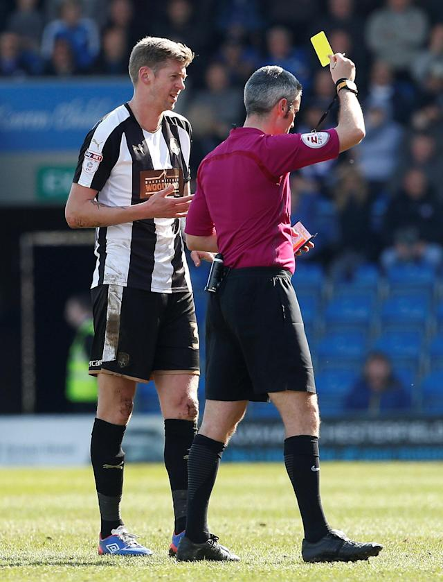 "Soccer Football - League Two - Chesterfield vs Notts County - Proact Stadium, Chesterfield, Britain - March 25, 2018 Notts County's Jon Stead is shown a yellow card by referee Seb Stockbridge Action Images/Craig Brough EDITORIAL USE ONLY. No use with unauthorized audio, video, data, fixture lists, club/league logos or ""live"" services. Online in-match use limited to 75 images, no video emulation. No use in betting, games or single club/league/player publications. Please contact your account representative for further details."