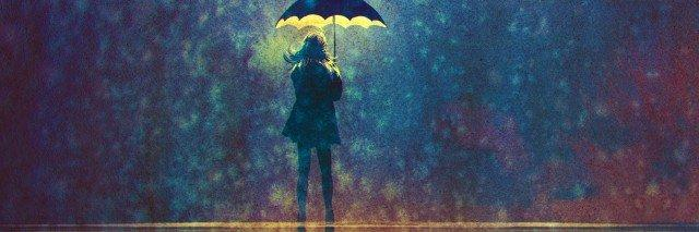 Illustration of woman standing under umbrella with light underneath it