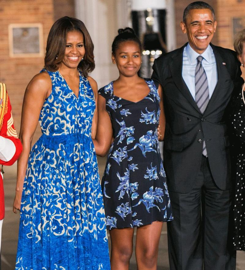 Michelle, Sasha and Barack Obama
