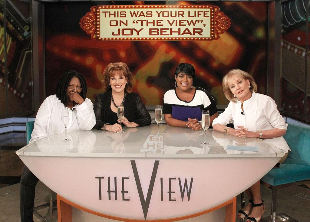 "Whoopi Goldberg, Joy Behar, Sherri Shepherd, and Barbara Walters on Joy's final episode as co-host of ABC's ""The View"" on Friday, August 9, 2013."