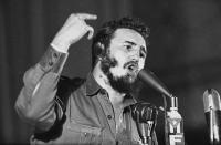 """<p>Cuban Prime Minister Fidel Castro told a massive May Day rally in Havana that the U.S. State Department is preparing """"an aggression against Cuba through Guatemala"""", May 1, 1960. Earlier, the crowd, estimated at over quarter of a million, interrupted Castro to chant """"Cuba yes, Yankees no."""" (AP Photo) </p>"""
