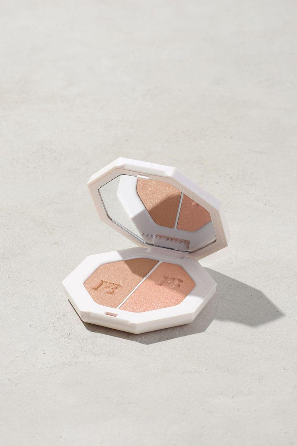 """<p><strong>Fenty Beauty</strong></p><p>fentybeauty.com</p><p><a href=""""https://go.redirectingat.com?id=74968X1596630&url=https%3A%2F%2Fwww.fentybeauty.com%2Fkillawatt-freestyle-highlighter%2FFB30002.html%3Fdwvar_FB30002_color%3DFB3004%26cgid%3Dmakeup-blush&sref=https%3A%2F%2Fwww.seventeen.com%2Fbeauty%2Fg34398305%2Ffenty-beauty-sale-october-2020%2F"""" rel=""""nofollow noopener"""" target=""""_blank"""" data-ylk=""""slk:SHOP IT"""" class=""""link rapid-noclick-resp"""">SHOP IT </a></p><p><strong><del>$36 </del>$24.30 (33% off)</strong></p><p>This lightweight highlighter will give your face that extra glow you've been craving. Plus, its cream-based formula is designed to last all day long.</p>"""