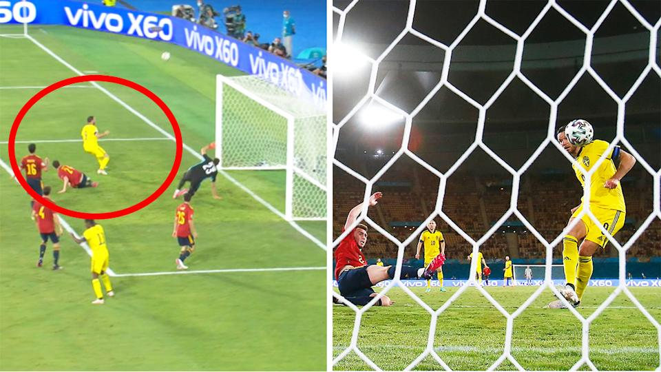 Sweden's Marcus Berg (pictured left) skying a shot against Spain to leave the game at 0-0.