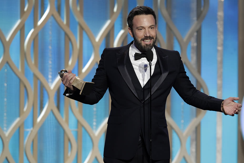 """Winner, Ben Affleck, Best Director - Motion Picture, """"Argo"""" on stage during the 70th Annual Golden Globe Awards held at the Beverly Hilton Hotel on January 13, 2013."""