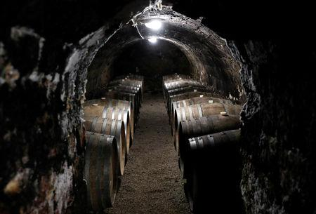 Wine barrels are seen in the cellar of Royal Tokaji in Mad, Hungary, April 12, 2019. Picture taken April 12, 2019. REUTERS/Bernadett Szabo