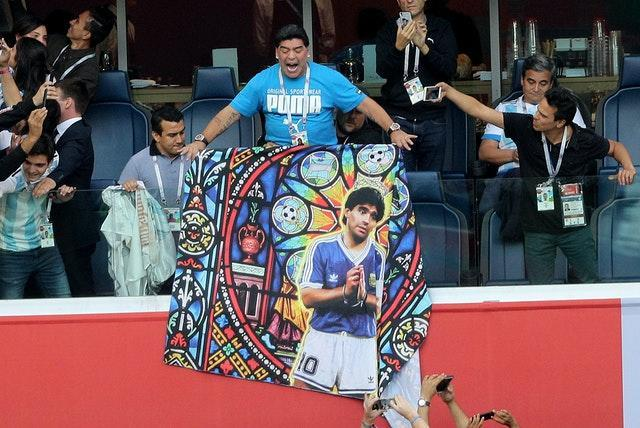 Maradona attracted plenty of attention in the stands at Russia 2018