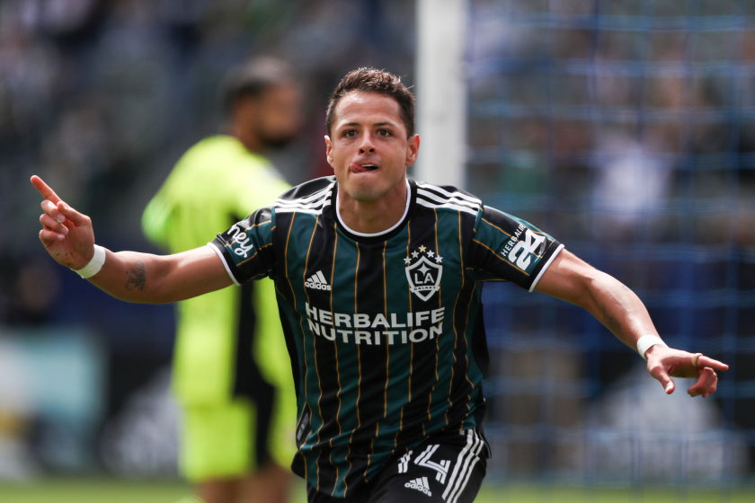 CARSON, CALIFORNIA - APRIL 25: Javier Hernandez #14 of Los Angeles Galaxy celebrates his goal in the first half.