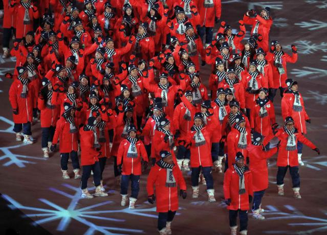 <p>Pyeongchang 2018 Winter Olympics – Closing ceremony – Pyeongchang Olympic Stadium – Pyeongchang, South Korea – February 25, 2018 – Athletes of Japan attend the closing ceremony. REUTERS/Kim Hong-Ji </p>