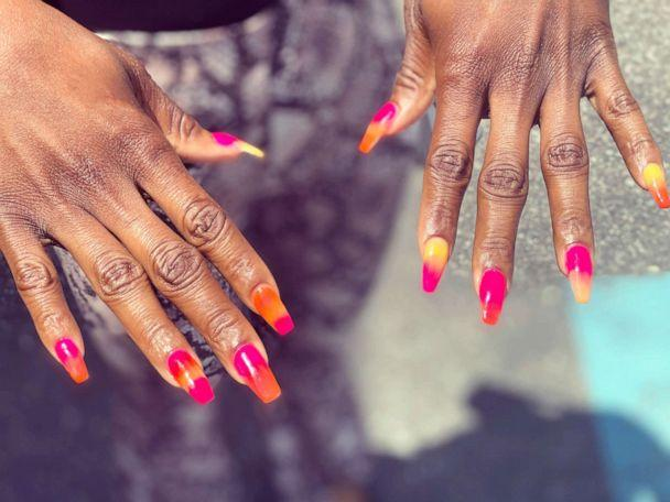 PHOTO: Atkins' client shows off a multicolored ombre set. (Courtesy Darnell Atkins)