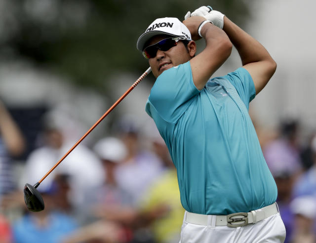 Hideki Matsuyama of Japan, watches his tee shot on the first hole during the second round of the PGA Championship golf tournament at the Quail Hollow Club Friday, Aug. 11, 2017, in Charlotte, N.C. (AP Photo/John Bazemore)