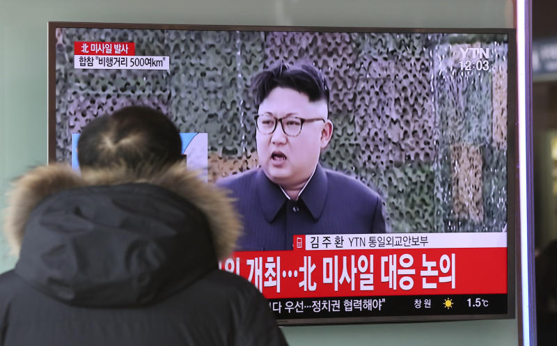 """<p> A man watches a TV news program showing a file footage of North Korean leader Kim Jong Un with letters reading: """"The North fired a missile"""" at the Seoul Train Station in Seoul, South Korea, Sunday, Feb. 12, 2017. North Korea reportedly fired a ballistic missile early Sunday in what would be its first such test of the year and an implicit challenge to President Donald Trump's new administration. Details of the launch, including the type of missile, were scant. (AP Photo/Lee Jin-man) </p>"""