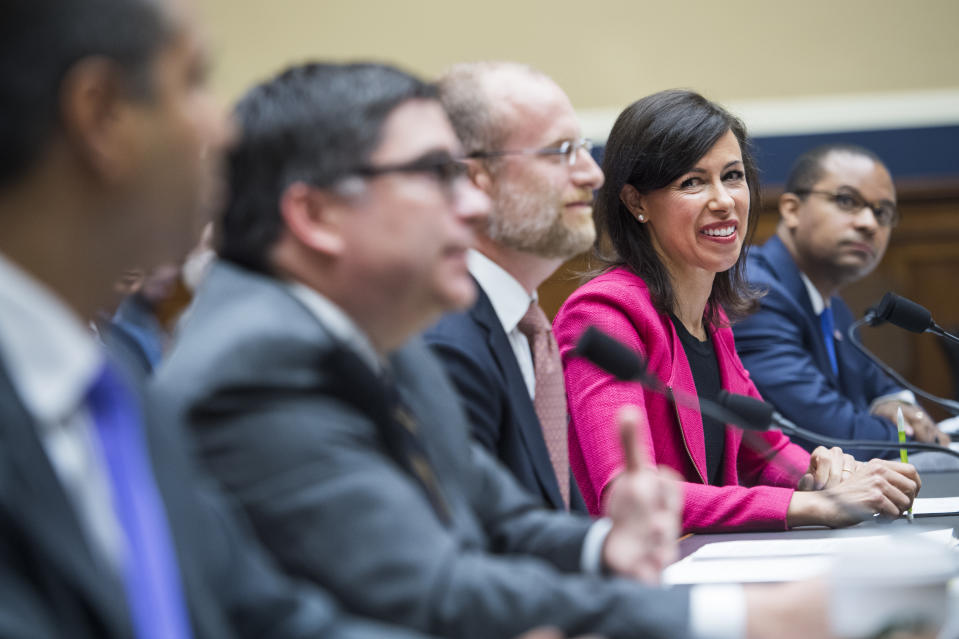 "UNITED STATES - MAY 15: From left, FCC Chairman Ajit Pai, commissioners Michael O'Rielly, Brendan Carr, Jessica Rosenworcel, and Geoffrey Starks, testify during a House Energy and Commerce Subcommittee on Communications and Technology hearing titled ""Accountability and Oversight of the Federal Communications Commission,"" in Rayburn Building on Wednesday, May 15, 2019. (Photo By Tom Williams/CQ Roll Call)"