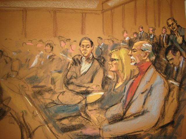 """Stan Patz (front), father of Etan Patz, sits with family members during opening statements at state Supreme Court in Manhattan in New York January 30, 2015, in this courtroom sketch courtesy of Jane Rosenberg. The mother of Etan Patz, a boy whose disappearance from a New York City street in 1979 ignited a national movement to find missing children, will tell jurors at his accused killer's trial about the """"nightmare that never ended,"""" a prosecutor said on Friday. REUTERS/Jane Rosenberg (UNITED STATES - Tags: CRIME LAW) ATTENTION EDITORS - THIS PICTURE WAS PROVIDED BY A THIRD PARTY. REUTERS IS UNABLE TO INDEPENDENTLY VERIFY THE AUTHENTICITY, CONTENT, LOCATION OR DATE OF THIS IMAGE. NO SALES. NO ARCHIVES. FOR EDITORIAL USE ONLY. NOT FOR SALE FOR MARKETING OR ADVERTISING CAMPAIGNS. THIS PICTURE IS DISTRIBUTED EXACTLY AS RECEIVED BY REUTERS, AS A SERVICE TO CLIENTS"""