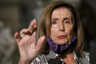 House Speaker Nancy Pelosi of Calif., speaks to the media, Tuesday, July 28, 2020, on Capitol Hill in Washington. (AP Photo/Jacquelyn Martin)