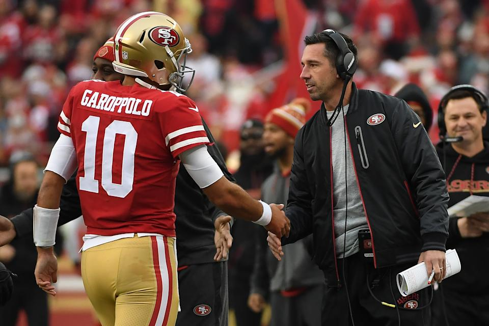 Kyle Shanahan is hoping for better health in 2019 for his quarterback Jimmy Garoppolo. (Getty Images)