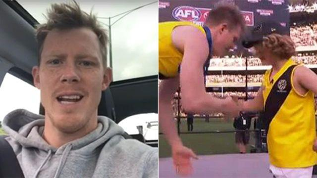 Riewoldt predicted his meeting with Mac in August. Pic: 3AW/Seven