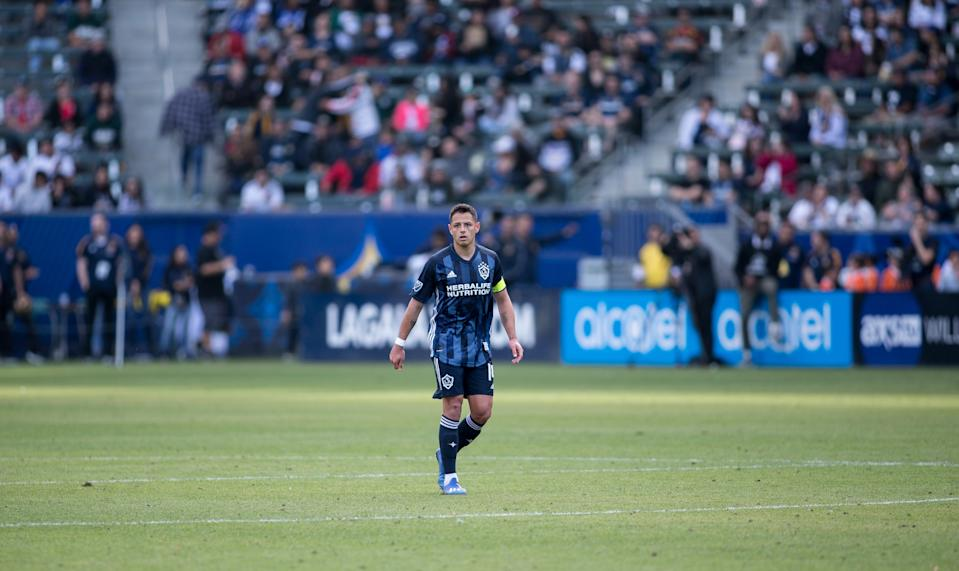 """CARSON, CA - FEBRUARY 15: Javier """"Chicharito"""" Hernandez #14 of the Los Angeles Galaxy during a game between Toronto FC and Los Angeles Galaxy at Dignity Health Sports Park on February 15, 2020 in Carson, California. (Photo by Michael Janosz/ISI Photos/Getty Images)"""