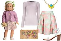"""<div class=""""caption-credit""""> Photo by: Courtesy of American Girl</div><b>Kit Kittredge</b> (1932) - Kit was big into adventures, so a movable skirt-and-sweater set was ideal. She was the last character we got to know (and obsess over) before we moved on from playing with dolls, and we still thinkher style sense is pretty rad. To put it simply, we want what this chick's got, especially that weaved clutch and floral mini. We think this pastel, pleated Suno skirt works as the foundation of an outfit that's up to par. <br> <br>"""