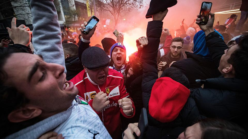 Italian fans, pictured here celebrating in Melbourne after Italy's victory in the Euro 2020 final.