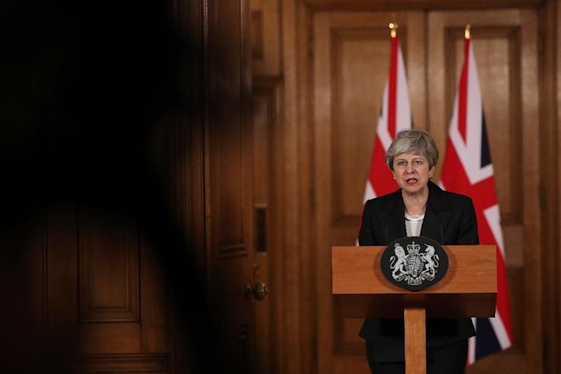 Britain's Prime Minister Theresa May makes a statement inside 10 Downing Street following her request to EU leaders to extend Brexit until June 30 (AFP Photo/Jonathan Brady)
