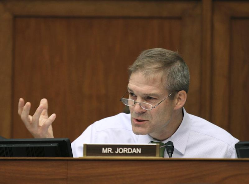 "FILE - In this June 15, 2016 file photo, Rep. Jim Jordan, R-Ohio speaks on Capitol Hill in Washington. Republicans on Sunday, March 12, 2017, dismissed an upcoming Congressional Budget Office analysis widely expected to conclude that more Americans will be uninsured under a proposal to dismantle Barack Obama's health law, despite President Donald Trump's promise of universal coverage. Jordan, a co-founder of the House Freedom Caucus, criticized the plan Sunday during on appearance on ""Fox News Sunday"" as an unacceptable form of ""Obamacare-lite."" He reiterated that he and other caucus members will seek to block the House bill unless there are additional changes. Meanwhile, GOP opponents from the right and center hardened positions against the Trump-backed legislation. (AP Photo/Lauren Victoria Burke, File)"