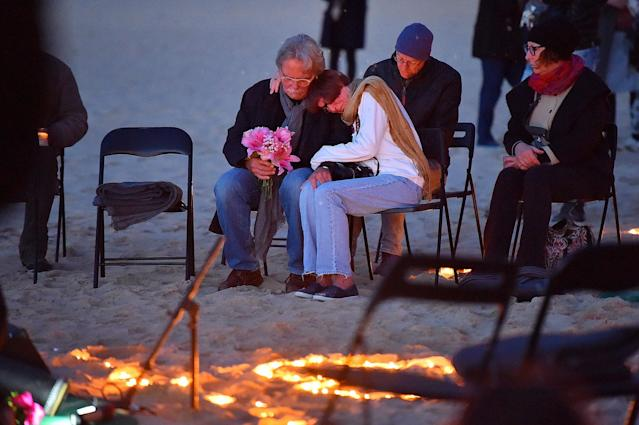 <p>The parents of Justine Damond (L-R) John Ruszczyk and Maryan Heffernan are seen during a vigil for their daughter at Freshwater Beach on July 19, 2017 in Sydney, Australia. (Photo: Kate Geraghty/Fairfax Media via Getty Images) </p>