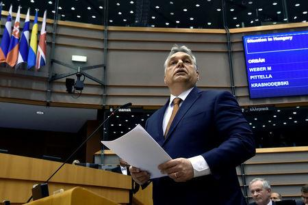FILE PHOTO: Hungary's PM Orban speaks during a plenary session at the EP in Brussels
