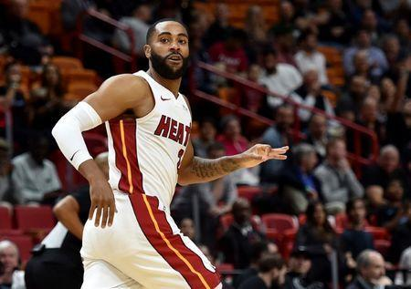 FILE PHOTO: Jan 30, 2019; Miami, FL, USA; Miami Heat guard Wayne Ellington (2) reacts after making a three point basket against the Chicago Bulls during the first half at American Airlines Arena. Mandatory Credit: Steve Mitchell-USA TODAY Sports