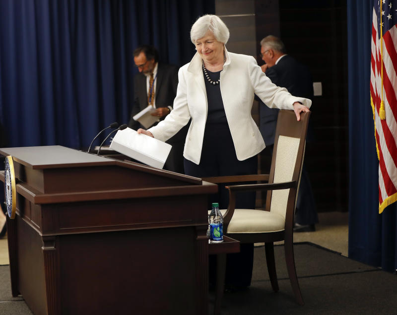 Fed Chair Janet Yellen takes her seat before speaking during a news conference following the FOMC meeting in Washington, Wednesday, Sept. 20, 2017. (AP Photo/Pablo Martinez Monsivais)