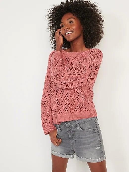 <p>The <span>Old Navy Lightweight Pointelle Boat-Neck Sweater</span> ($28, originally $37) is an airy pick for late summer, and it can be layered with a long-sleeved top or tank underneath when it gets chilly, too.</p>