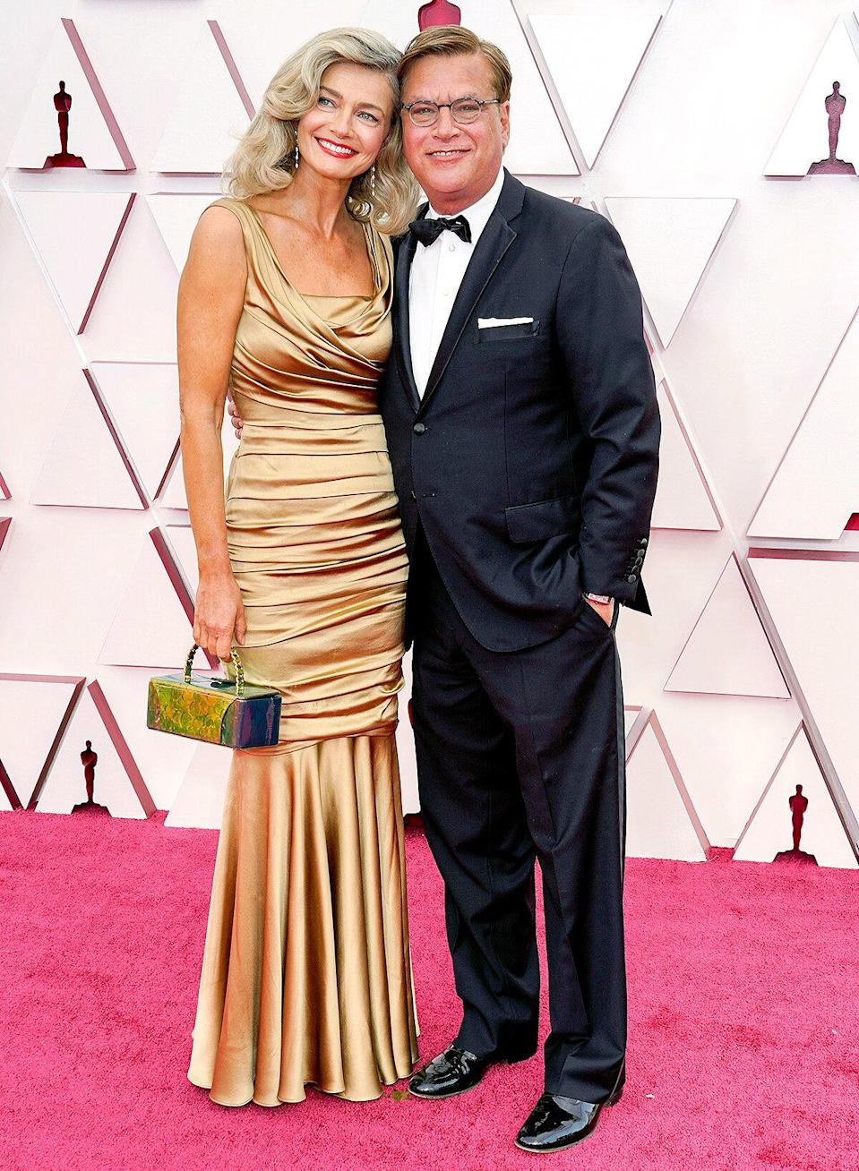 Paulina Porizkova (L) and Aaron Sorkin attends the 93rd Annual Academy Awards at Union Station on April 25, 2021 in Los Angeles, California.