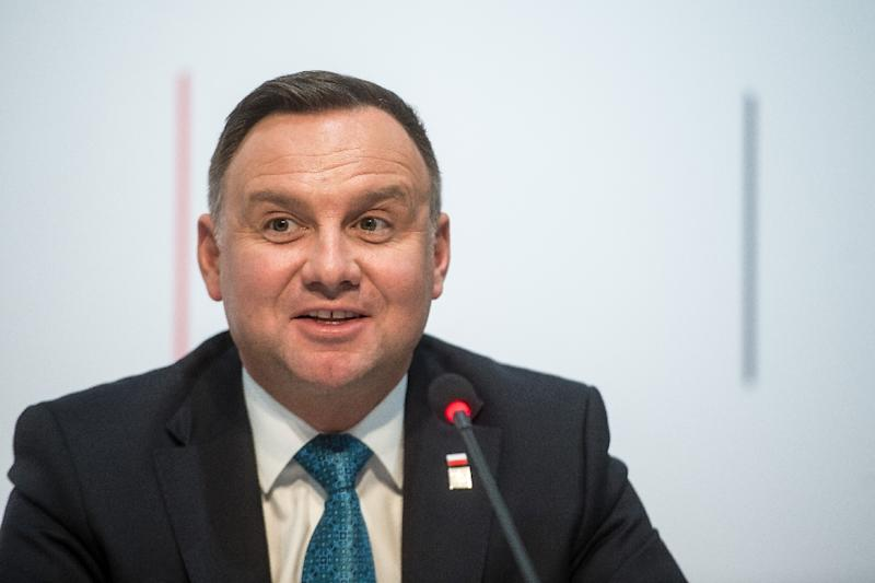 "Polish president Andrzej Duda's (pictured February 2019) office said the events will be marked with ""the countries we work closely with today for peace in a world based on the principles of observing international law"" (AFP Photo/VLADIMIR SIMICEK)"