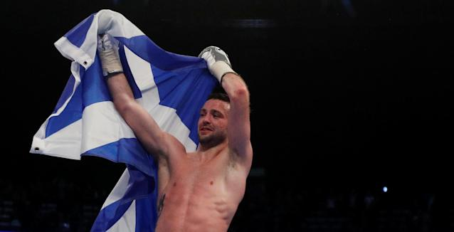 Boxing - Josh Taylor vs Winston Campos - WBC Silver Super-Lightweight Title - Glasgow, Britain - March 3, 2018 Josh Taylor celebrates after winning the fight Action Images via Reuters/Lee Smith