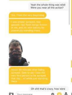 A man in Texas told someone he teamed up with on Bumble that he witnessed the United States Capitol Riot where the FBI said he attacked police with a metal whip.  They denounced him.