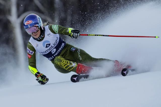 United States' Mikaela Shiffrin competes during an alpine ski, women's World Cup giant slalom in Killington, Vt., Saturday, Nov. 30, 2019. (AP Photo/Charles Krupa)