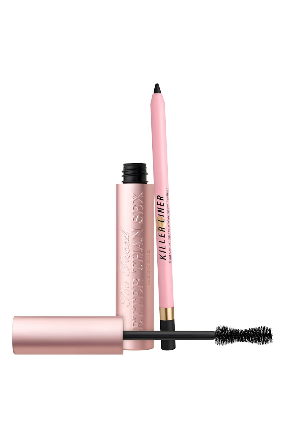 """<p><strong>Too Faced</strong></p><p>nordstrom.com</p><p><strong>$32.00</strong></p><p><a href=""""https://go.redirectingat.com?id=74968X1596630&url=https%3A%2F%2Fwww.nordstrom.com%2Fs%2Ftoo-faced-full-size-better-than-sex-volumizing-mascara-killer-liner-set-46-value%2F5922882&sref=https%3A%2F%2Fwww.elle.com%2Fbeauty%2Fg36944650%2Fnorstrom-anniversary-beauty-sale-2021%2F"""" rel=""""nofollow noopener"""" target=""""_blank"""" data-ylk=""""slk:Shop Now"""" class=""""link rapid-noclick-resp"""">Shop Now</a></p><p>The name of this mascara might terrorize my grandma, but hey, it's not wrong. Give yourself a nice smokey eye and the most dramatic lashes of your life with kit.</p>"""