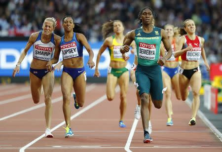 Athletics - World Athletics Championships - women's 800 metres semi-final – London Stadium, London, Britain - August 11, 2017 - Lynsey Sharp of Britain, Charlene Lipsey of the U.S. and Caster Semenya of South Africa compete. REUTERS/Lucy Nicholson