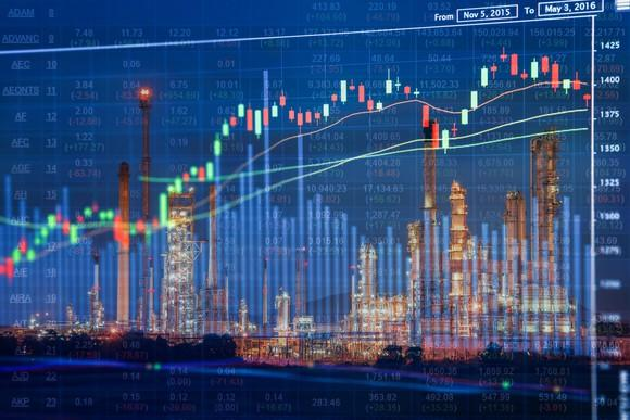 Stock index and chart superimposed over picture of oil refinery at night.