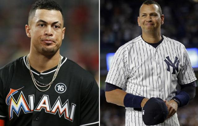 "<a class=""link rapid-noclick-resp"" href=""/mlb/players/8634/"" data-ylk=""slk:Giancarlo Stanton"">Giancarlo Stanton</a> (left) and <a class=""link rapid-noclick-resp"" href=""/ncaaf/players/252085/"" data-ylk=""slk:Alex Rodriguez"">Alex Rodriguez</a> (right) have a lot in common. That will soon include being reigning MVPs traded to the Yankees. (AP)"