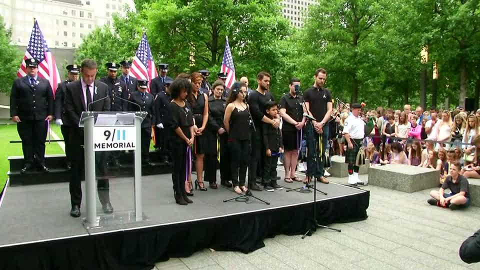 A moment of silence at Ground Zero for the victims of Sunday's Orlando nightclub massacre. Rough Cut (no reporter narration).