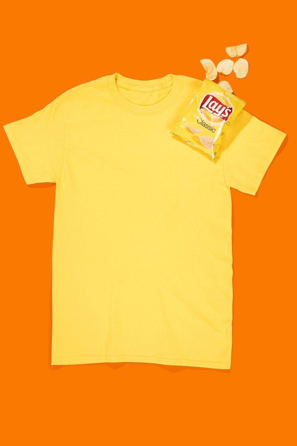 """<p>Be the punniest person at the Halloween party by hot-glueing a snack-size bag of Lay's potato chips to a <span class=""""redactor-unlink"""">yellow t-shirt</span>.</p><p><strong><a class=""""link rapid-noclick-resp"""" href=""""https://www.amazon.com/Next-Level-Signature-Boyfriend-T-Shirt/dp/B0092ZMFRA/?tag=syn-yahoo-20&ascsubtag=%5Bartid%7C10070.g.490%5Bsrc%7Cyahoo-us"""" rel=""""nofollow noopener"""" target=""""_blank"""" data-ylk=""""slk:SHOP YELLOW TEES"""">SHOP YELLOW TEES</a></strong></p>"""