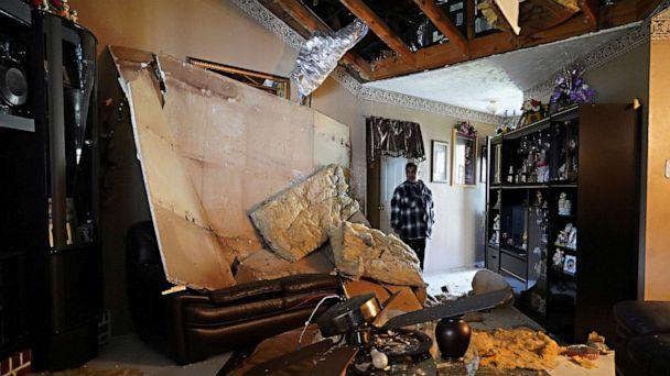 PHOTO: Fransisco Castrejon, 62, stands inside his house, damaged by a warehouse explosion in nearby Houston, January 24, 2020. (Go Nakamura/Reuters)