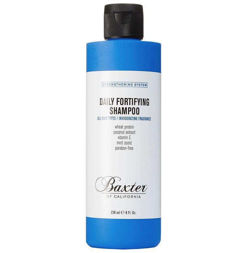 """<p><strong>Baxter of California</strong></p><p>baxterofcalifornia.com</p><p><strong>$33.00</strong></p><p><a href=""""https://www.baxterofcalifornia.com/daily-fortifying-shampoo/C-FortifyingShampoo.html"""" rel=""""nofollow noopener"""" target=""""_blank"""" data-ylk=""""slk:Buy"""" class=""""link rapid-noclick-resp"""">Buy</a></p><p>If you find yourself generally free of any hair-related issues (you lucky bastard, you) and are looking for a dependably good wash, Baxter of California's simple daily formula is a great pick. (Bonus points for the added vitamin E, which helps hair maintain its natural moisture.) </p>"""