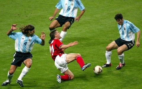<span>VAR would have denied Michael Owen the penalty from which David Beckham score England's winner against Argentina at the 2002 World Cup</span> <span>Credit: Reuters </span>