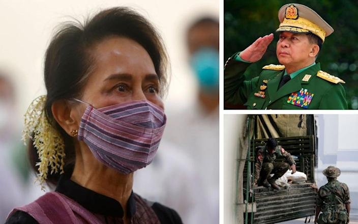Aung San Suu Kyi was detained and military chief Min Aung Hlaing was put in charge as the army took over