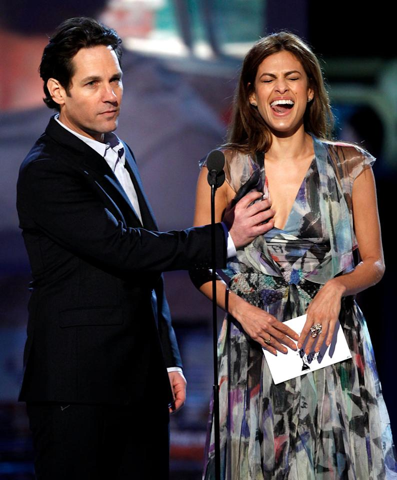 "WORST: Paul Rudd and Eva Mendes — Mendes explained that their racy boob-grabbing joke got nixed, then Rudd grabbed it anyway as he announced the nominees. Then Rosario Dawson somehow got involved. We're not quite sure what the joke there was, but we're sure that independent cinema has never felt prouder. <a href=""http://www.televisionwithoutpity.com/show/award_shows/independent_spirit_awards_2011.php?__source=tw