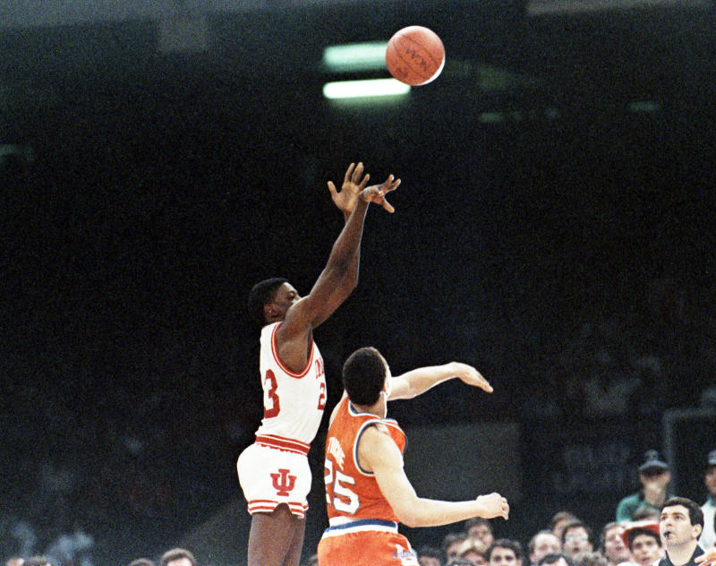 Indiana's Keith Smart launches the shot that won the 1987 NCAA national championship game for the Hooisers over the Syracuse Orangemen in the Superdome. (Photo by Bettmann Archive/Getty Images)