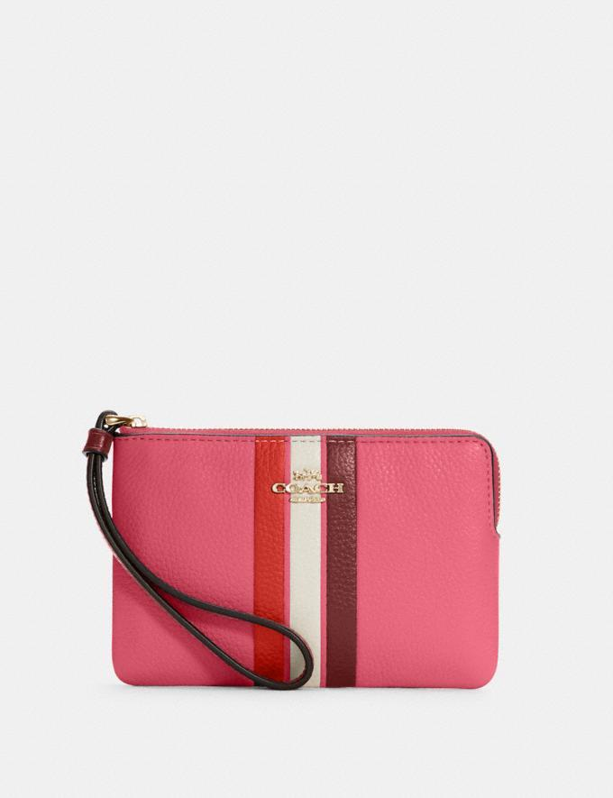 Corner Zip Wristlet In Colorblock With Stripe- Coach Outlet