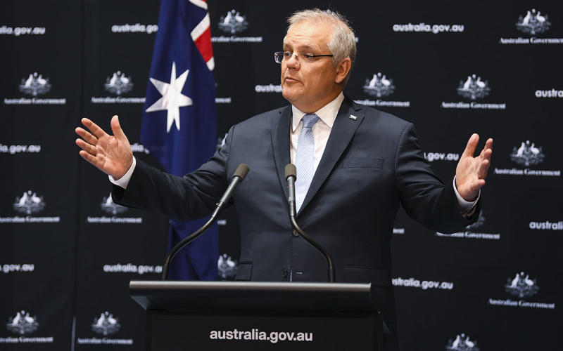 Australian Prime Minister Scott Morrison speaks to the media during a press conference at Parliament House in Canberra, Friday, June 12, 2020. (AAP Image/Lukas Coch) NO ARCHIVING